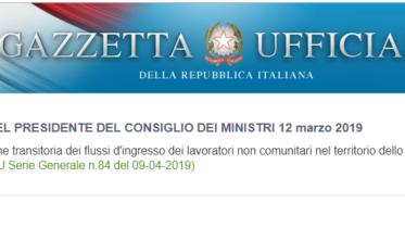 gazzetta ufficiale decreto flussi 2019