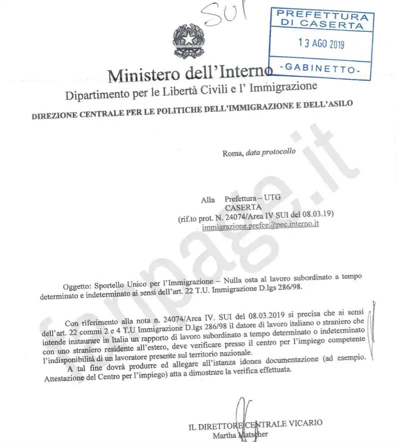 nuova circolare decreto flussi 13 agosto 2019