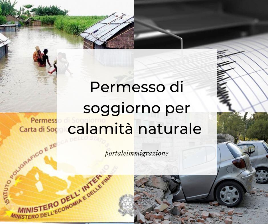 permesso di soggiorno per calamità naturale