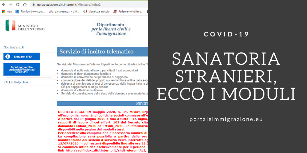 Sanatoria Stranieri I Moduli Emdom 2020 E Emsub 2020 Portale Immigrazione