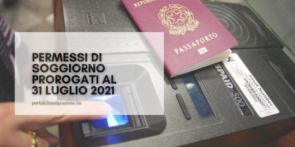 Permessi di soggiorno, proroga al 31 luglio 2021 - portale ...